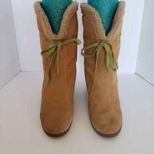 CLEARANCE! Markon suede 'Sheryl' fleecewedge boots